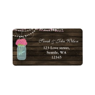 pink flowers mason jar address label