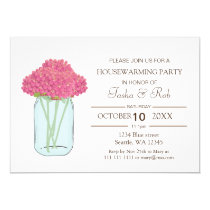 Pink Flowers mason jar Housewarming Invitation