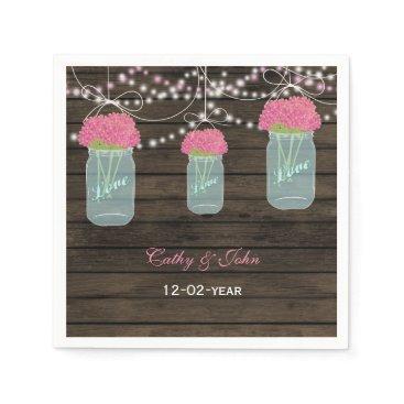 pink flowers mason jar personalized wedding napkin