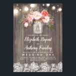 "Pink Flowers Mason Jar Rustic Lace Wedding Invitation<br><div class=""desc"">Baby&#39;s breath and pink flowers mason jar,  string lights,  wood,  lace rustic wedding invitations</div>"