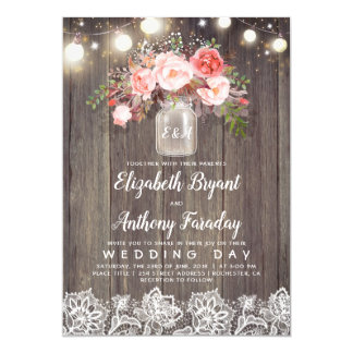 Pink Flowers Mason Jar Rustic Lace Wedding Invitation