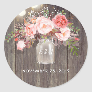 Pink Flowers Mason Jar Rustic Wedding Classic Round Sticker