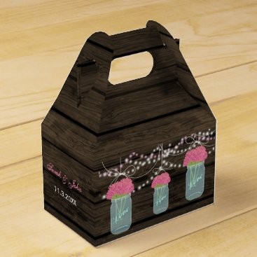 pink flowers mason jar wedding favor box