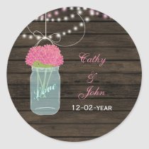 pink flowers mason jar wedding favor stickers