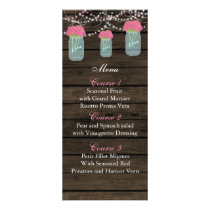 pink flowers mason jar wedding menu cards