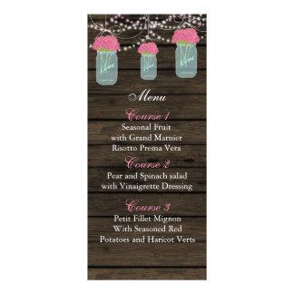 pink flowers mason jar wedding menu cards