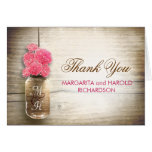 Pink flowers mason jar wedding thank you cards