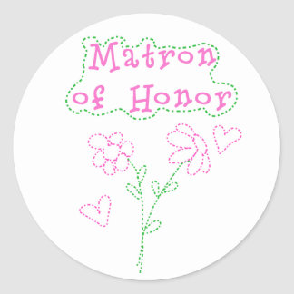 Pink Flowers Matron of Honor Classic Round Sticker