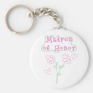 Pink Flowers Matron of Honor Keychain