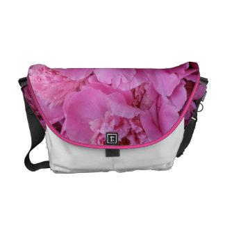 Pink flowers messenger bag