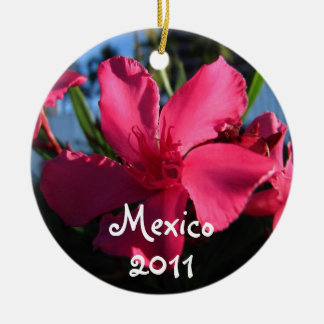 Pink Flowers; Mexico Souvenir Double-Sided Ceramic Round Christmas Ornament