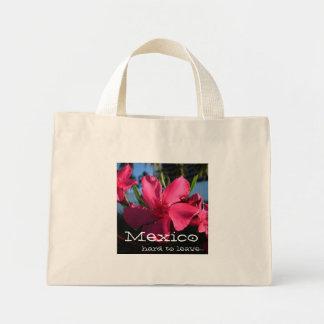 Pink Flowers; Mexico Souvenir Mini Tote Bag
