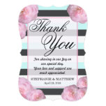 Pink Flowers & Mint, Charcoal Gray & White Stripes Card