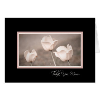 Pink Flowers Mom Wedding Day Thank You Card
