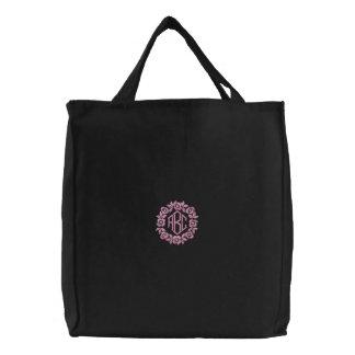 Pink Flowers Monogram Initials Tote Bag