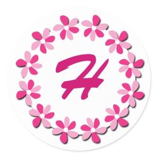 Pink Flowers Monogram Stickers H sticker