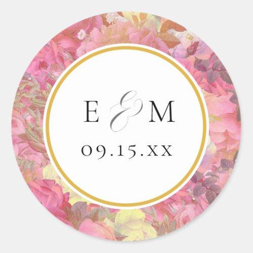 Pink Flowers Monogram Wedding Envelope Seals