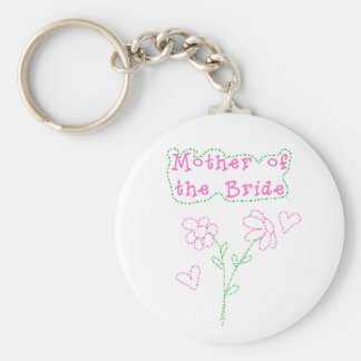 Pink Flowers Mother of Bride Key Chains