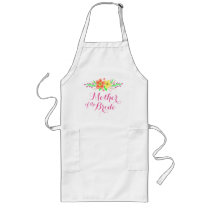 Pink Flowers Mother of the Bride Long Apron