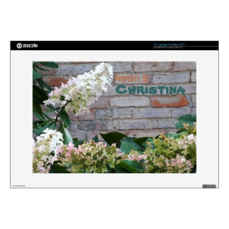 Pink Flowers N Brick Wall Personalized Laptop Skin