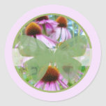 Pink Flowers n Butterflies B Classic Round Sticker