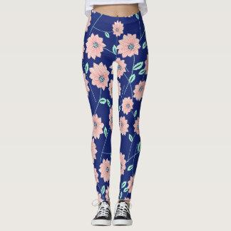 Pink Flowers Navy Blue Leggings