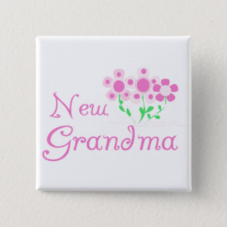 Pink Flowers New Grandma Tshirts and Gifts Pinback Button