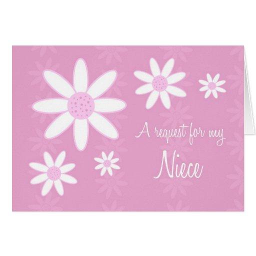 Pink Flowers Niece Flower Girl Invitation Card