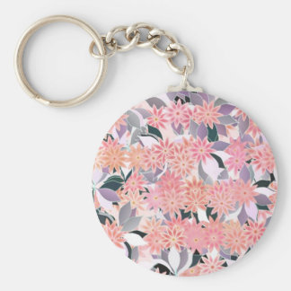 Pink flowers on a background of silver leaves basic round button keychain