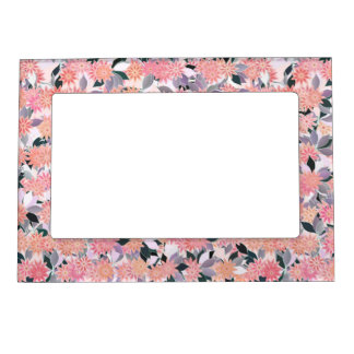 Pink flowers on a background of silver leaves photo frame magnet