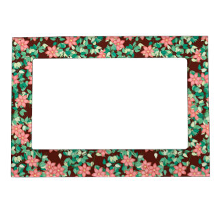 Pink flowers on a chocolate background magnetic picture frame