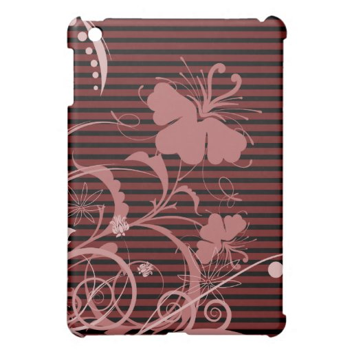 Pink Flowers on Black and Pink Stripes iPad Mini Covers
