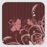 Pink Flowers on Black and Pink Stripes Square Stickers