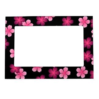 Pink Flowers on Black - Frame Photo Frame Magnets