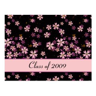 Pink Flowers on Black Postcard