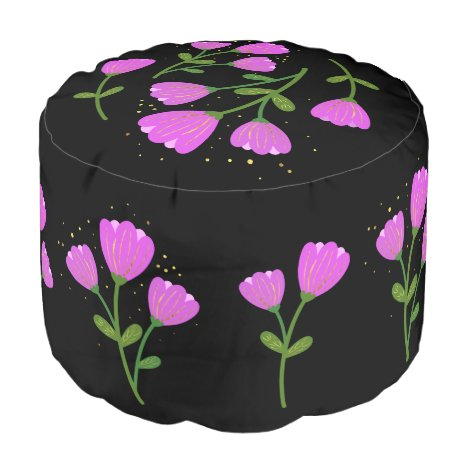 Pink Flowers on Black Pouf