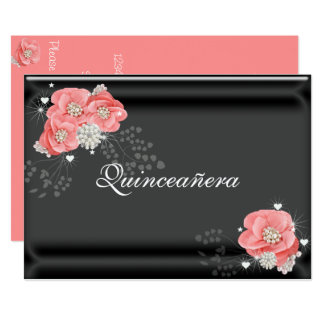 Pink Flowers on Black, Quinceañera,15th Birthday Card