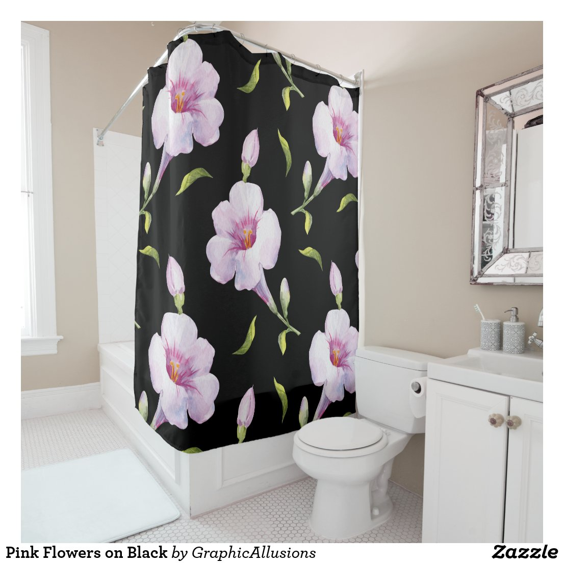 Pink Flowers on Black Shower Curtain