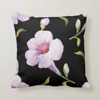 Pink Flowers on Black Throw Pillow