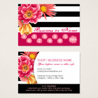 Pink Flowers on Black White Stripes Loyalty Reward Business Card