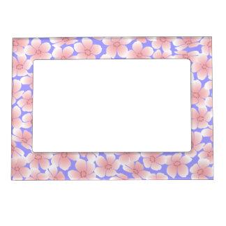 Pink Flowers on Blue - Frame Picture Frame Magnet