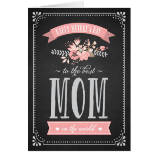 Pink Flowers on Chalkboard | Mother's Day Card