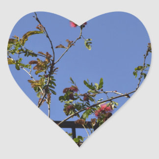 Pink Flowers on Fence Heart Sticker