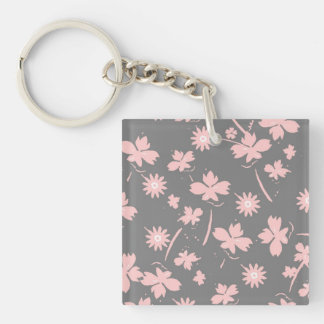 Pink Flowers on Gray Keychain
