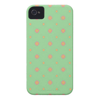 Pink Flowers on Green Patchwork iPhone 4 Case