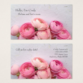 Pink flowers on handmade paper mom business card