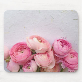 pink flowers on handmade paper mousepad