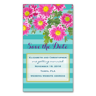Pink Flowers on Turquoise Stripes Save The Date Business Card Magnet