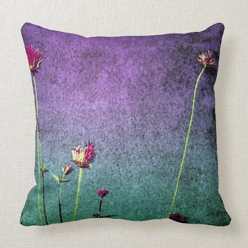 pink flowers on vibrant blue and green background throw pillow Zazzle