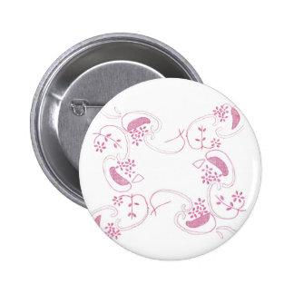 Pink Flowers On White 2 Inch Round Button